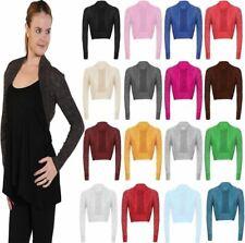 Women Long Sleeve Plain Knitted Shrug Top Ladies Open Front Bolero Crop Cardigan