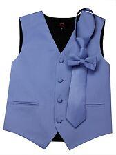 Boy's Cornflower Satin Formal Dress Tuxedo Vest, Tie & Bow-Tie Set. Wedding Prom