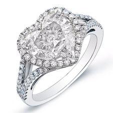 2.90 Ct. Halo Heart Brilliant Cut Diamond Engagement Ring G,VS2 GIA 14K Gold