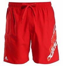 New Mens Adidas Swim Beach Swim Swimming Board Shorts Summer Holidays - Red