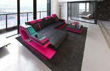 Ledercouch RAVENNA L Form Design Couch Ecksofa Beleuchtung + USB schwarz-pink