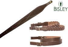 Leather Rifle Sling Bisley Genuine Plaited Cobra Plain Strap