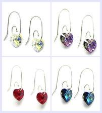 Sterling Silver Love Heart Dangle Earrings Swirl Hook Swarovski Element Crystal