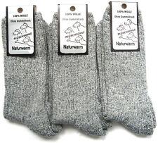 3 Paar Norwegersocken 100% Wolle Wandersocken mit Plüschsohle grau 39 bis 46