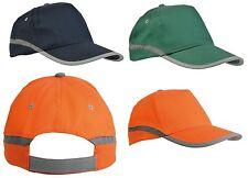 Cappellino alta visibilità bande e chiusura catarifrangenti arancione,verde,blu