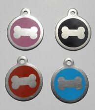 Médaille acier OS gravée pour animaux chien  - 4 couleurs 32 mm