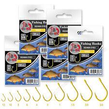 Fishing Hooks size 12-3/0 Iseama Gold Eyed Barbed X-strong Carp Match Sea