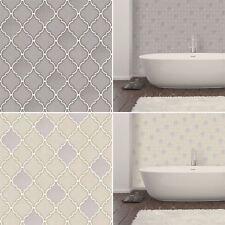Retro Geometric Trellis Tile Wallpaper Embossed Vinyl Kitchen Bathroom Glitter