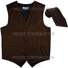 New Men's Tuxedo Vest Waistcoat Vertical Stripes Necktie prom party Brown