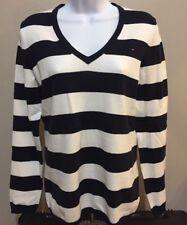 Tommy Hilfiger Women's V-Neck Stripe Sweater Navy/White