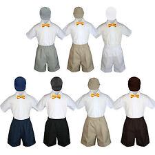 4pc Baby Boys Toddler Formal Yellow Bowtie Black Navy Khaki Shorts Set Hat Sm-4T