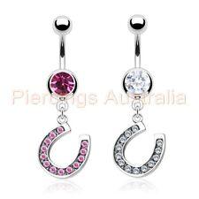 Lucky Gem Horse Shoe Belly Button Navel Bar Ring Dangle Body Piercing Jewellery