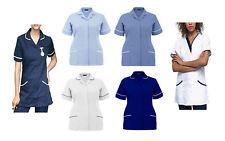 New Womens Nurses Tunics Medical Uniform Salon Vet Healthcare Maid Scrub Suit