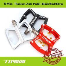 Tipsum Ti-Max Titanium Axle Pedal Mtb Road Bicycle -Black/Red/Silver Extra Pin