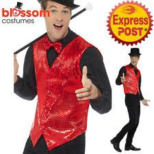 CA739 Sequin Red Vest Waistcoat Dance Mardi Gras 20s Magician Ringmaster Costume