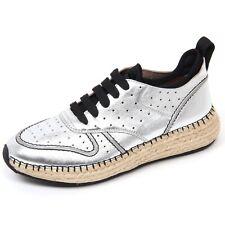 D0484 sneaker donna TOD'S scarpa run rafia 29A forata argento/nero shoe woman