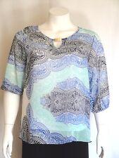 New Women Plus Size Black Blue Turquoise Floral Chiffon Blouse (Top) Size 1X