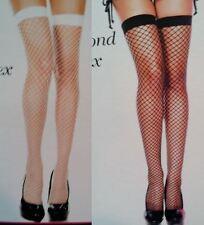 Music Legs Thigh High Stockings Plus Mini Diamond Net Spandex Black White 4930Q