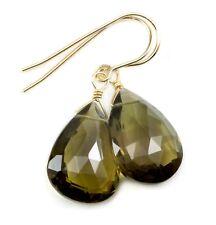 Olive Green Quartz Earrings X Large Facet Teardrop Simple Drop 14k Gold Sterling