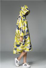 Ladies Rain Coat Printed Waterproof Poncho Rainwear Lightweight Cloak Outdoor