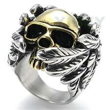 MEN WOMEN Jewelry Stainless Steel Ring Gothic Angel wings Skull Biker devil hell
