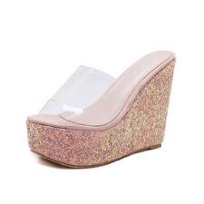 Sandali sabot rosa stras ciabatte 12 cm zeppa platform simil pelle eleganti 1034