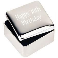 Silver JEWELLERY TRINKET BOX GIFT Happy 30th Birthday