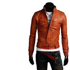 UK Man Men GENUINE Leather Jacket Biker Coat Slim Fit Veste Homme Cuir M15pp3