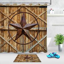 Rusty Texas Star Rustic Barn Door Fabric Shower Curtain Bathroom Accessory Sets
