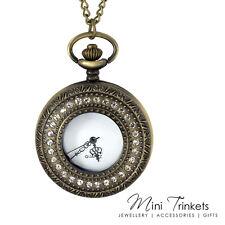 Antique Gold Cubic Zirconia Quartz Pocket Watch Chain Necklace Pendant Present