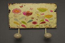 Deko  Wandhaken Doppelhaken aus Metall Blumenwiese zum aufhängen