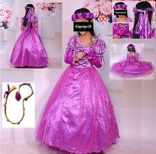 Rapunzel Vestito Carnevale Maschera Tangled Cosplay Girl Dress up RA001DIR