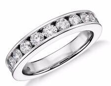 Lab Diamond Ring Wedding Band 14k White Gold 1.00 Carat Channel set