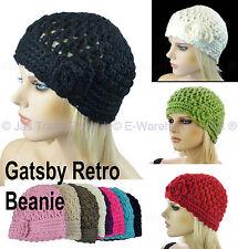 Ladies Crochet Knit Retro Great Gatsby 20s Party Flower Lacy Beanie Cloche Hat