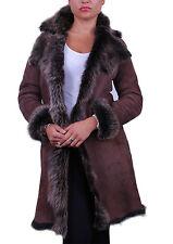 Marrone / Oro 3/4 DONNA WOMEN'S Toscana Pelle di Pecora Cuoio Giacca Trench Cappotto