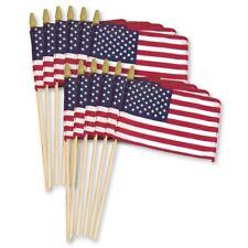 "12"" x 8"", 12"" x 18"" U.S.A Cotton Stick Flag, 5 Prong Wall Display Metal Mount"