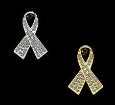 CRYSTAL GREY RIBBON BOW BRAIN CANCER TUMOR AWARENESS BROOCH PIN SILVER GOLD TONE