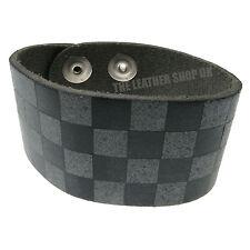 Hommes Bracelet De Poignet Rond À Carreaux Imprimé Bracelet Vrai Cuir Main