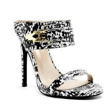 Women's Black and White Open Toe High Heel Stiletto Sandals