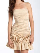 $398 BCBG CHAMPAGNE ROSETTE TEARAWAY STRAPLESS DRESS NWT 10