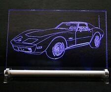 LED-Leuchtschild graviert ist  Chevrolet Corvette c3 1969  AutoGravur
