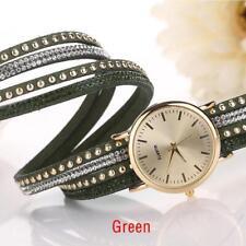 Vintage Women Crystal Rivet Bracelet leather Band Quartz Braid Wrist Watch UP