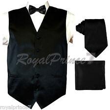 BLACK Solid Tuxedo Suit Vest Waistcoat and Neck tie, Bow Tie Hanky Wedding Party