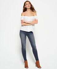 New Womens Superdry Sophia High Waist Super Skinny Jeans Grey