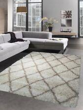 Shaggy tapis longue pile motif de diamant en crème beige
