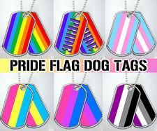 Gay Lesbian LGBTQ Trans Asexual Bi Pan Dog Tag Military Keychain Necklace Metal