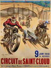 REPRO DECO AFFICHE CIRCUIT ST CLOUS MOTO SIDE CAR 1946 PANNEAU MURAL BOIS HDF