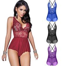 Plus Women's Sexy Lingerie Babydoll Sleepwear Backless Lace bodysuit Underwear