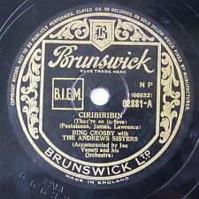 78 record framed CIRIBIRIBIN / YODELIN JIVE bing crosby - andrews sisters