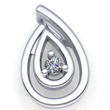 Genuine 0.2ct Round Cut Diamond Ladies Fancy Solitaire Pendant 10K Gold